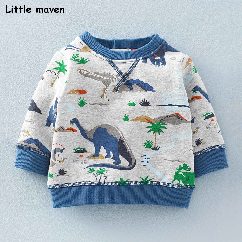 Little maven baby boys clothes autumn children terry fabric long sleeve O neck Knitted dinosaur park print thick t shirt CT046