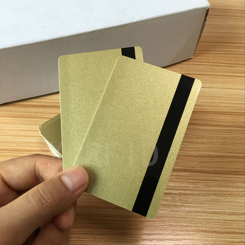 ISO Hi-Co  2750 /3000/ 4000 Oe  Hi Co Magnetic Stripe Metal Gold PVC Card  10PCS