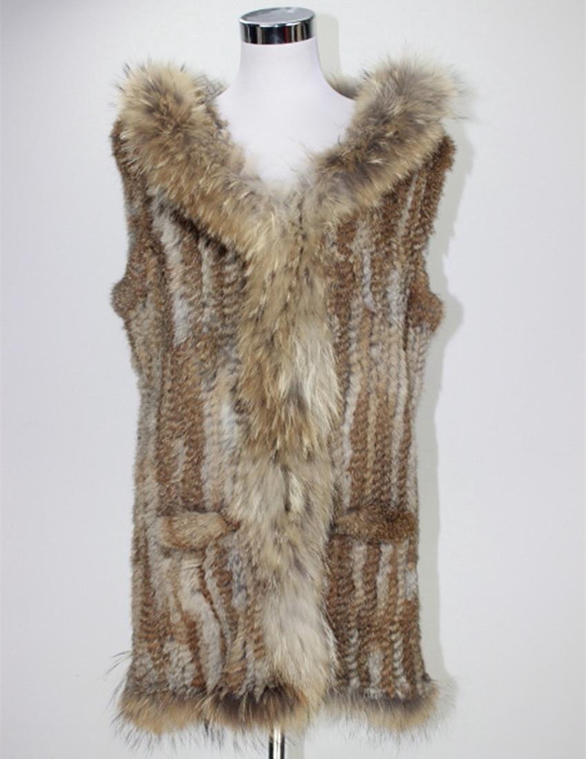 Lange Gestrickte Kaninchen Fell Kapuze Weste Crochet Pelz Strickjacke Westen Braun Weste Sleeveless Waschbären Pelz Kragen Trim Weste Plus Größe