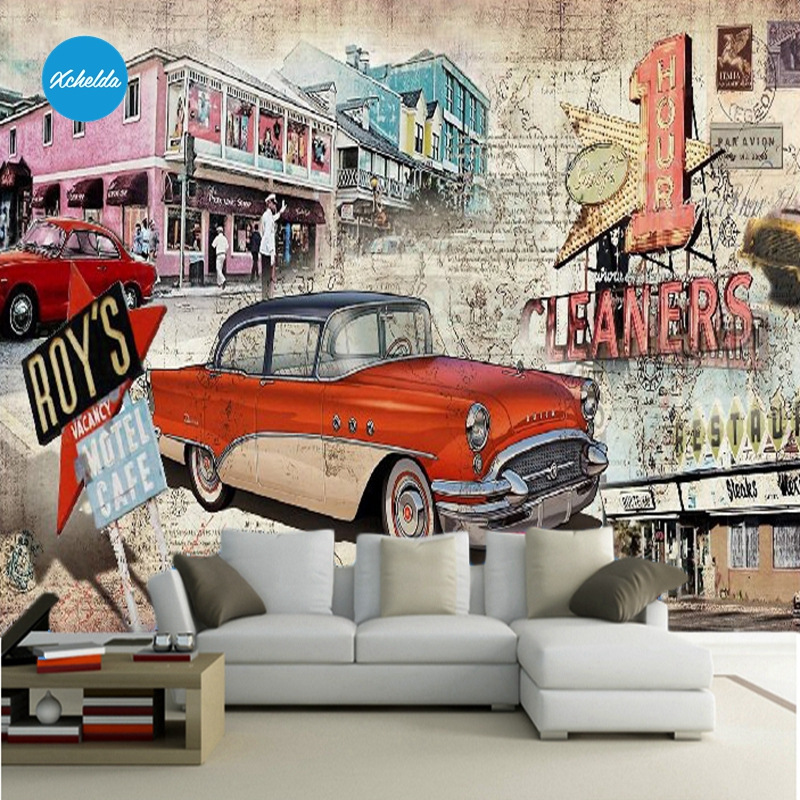 XCHELDA Custom 3D Wallpaper Design Cartoon Car Photo Kitchen Bedroom Living Room Wall Murals Papel De Parede Para Quarto