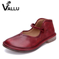 2016 Women Shoes Genuine Leather Flat Heels Round Toes Handmade Cow Leather Women Casual Shoes