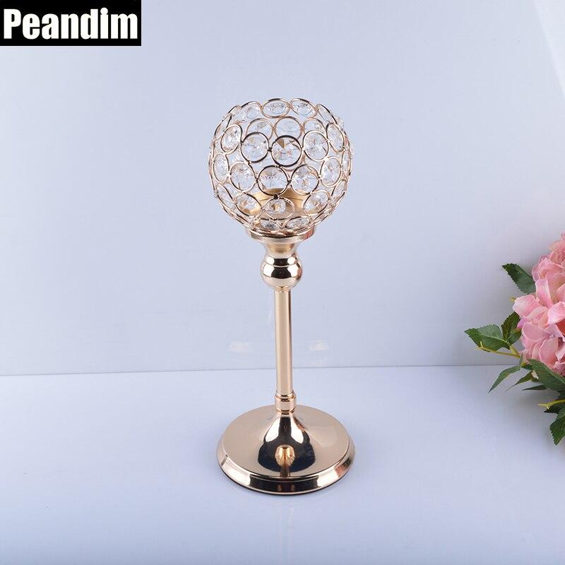 """""""PEANDIM"""" vestuvių krištolo žvakidės, 30 cm aukso spalvos, - Namų dekoras"""