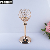 PEANDIM Wedding Crystal Candelabra 30cm Gold Color Crystal Candlestick Table Centerpieces Crystal Candle Holder