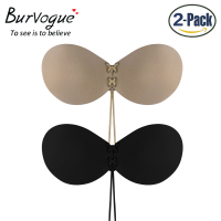 Burvogue Sexy Women Silicone Bra Push Up Stick On Self Adhesive Bra Strapless Front Lacing Bra