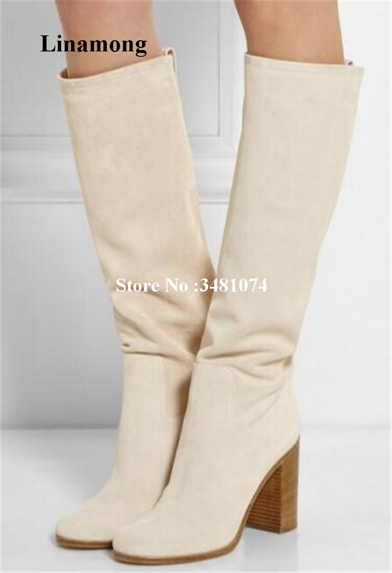 New Arrival Spring Autumn Flock Boots Pointed Metal Decoration And Solid Flock Mid-Calf Boots Round Toe Slip-On Women Boots 2018 spring new white solid color pointed toe spike heels slip on mid calf short boots women s off white leather boots lady