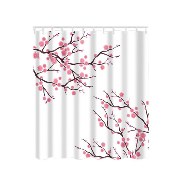 Fish Shell Dandelion Plant Pattern Shower Curtain By Plum Blossom Picture Print Set With Hooks