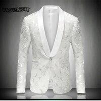 أبيض مطرز روز الزهور البدلات الرسمية السترة الرجال زفاف رجل المرحلة الستر المطربين الأزياء سترة يتأهل M-4XL