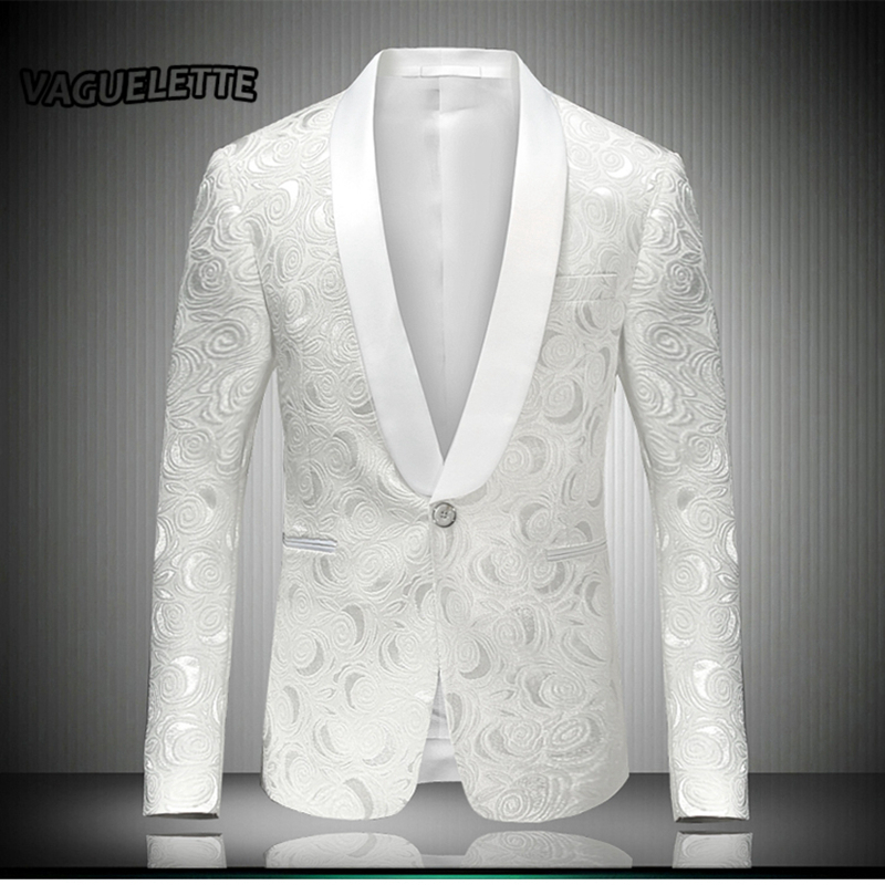 White mens embroidered blazer rose floral tuxedos wedding for Blazer with dress for wedding