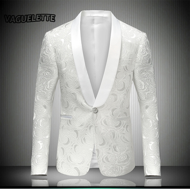 Aliexpress.com  Buy White Mens Embroidered Blazer Rose Floral Tuxedos Wedding Dress Stage ...