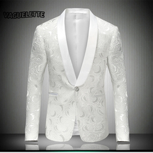 White Mens Embroidered Blazer Rose Floral Tuxedos Wedding Dress Stage Costumes For Singers Men Blazer Designs 2017 M-4XL