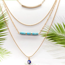 New Natural Beads Tassel Multilayer Choker Chain Necklace Women Blue Eyes Long Statement Necklace Jewelry long blue ribbon choker necklace