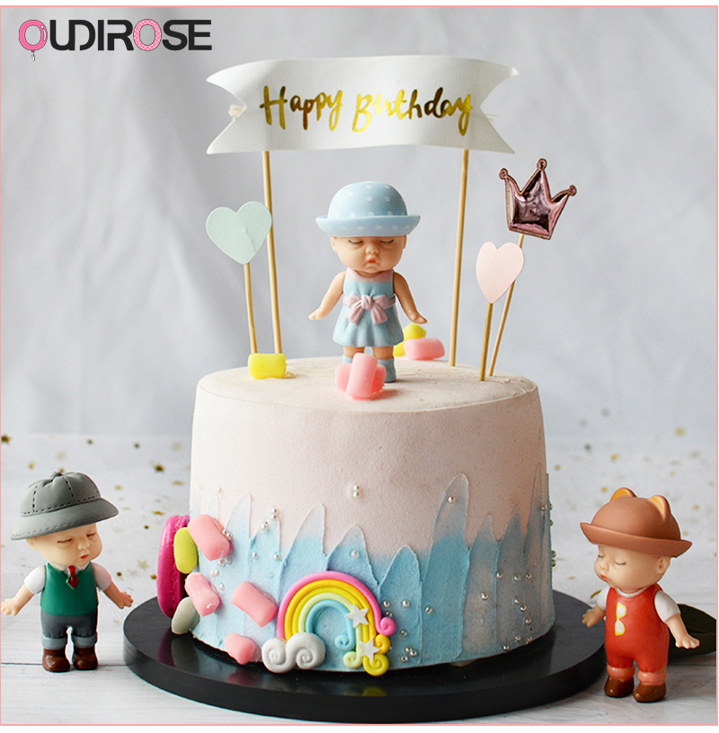 Cool Sleeping Cute Doll Yarn Ball Light Happy Birthday Cake Topper Girl Funny Birthday Cards Online Overcheapnameinfo