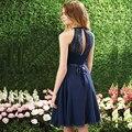 2016 uma linha de Halter Chiffon cor azul escuro vestidos de dama de honra com manga curta vestido para festa de casamento