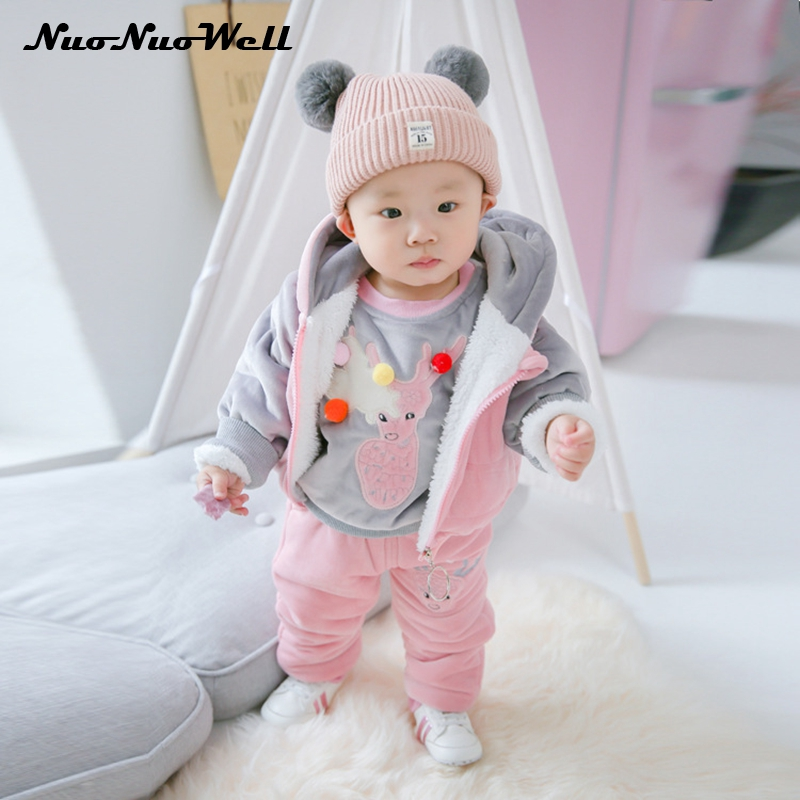 Winter Children Sets Boys Girls Clothing Sets Winter 3Pcs Hoode Thicker Sweatshirt+Pants+Vest Warm Kids Clothes Christmas Suit autumn winter boys girls clothes sets sports suits children warm clothing kids cartoon jacket pants long sleeved christmas suit