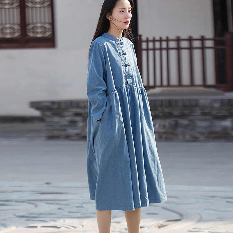 נשים שמלת ג 'ינס בציר דוכן ארוך שרוול כיסי אביב חדש Loose מוצק צבע נשים מטליות כפתור שמלה