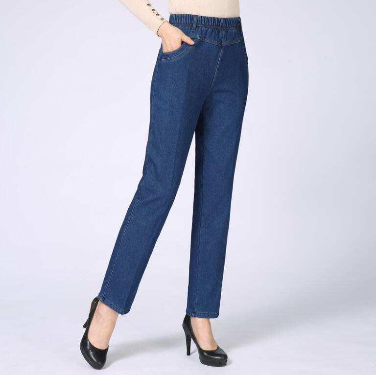 Classic Moms Jeans Women Straight High Waist Denim Pants Ladies Elastic Waist Loose Jeans Trousers Plus Size 29-40 R1288