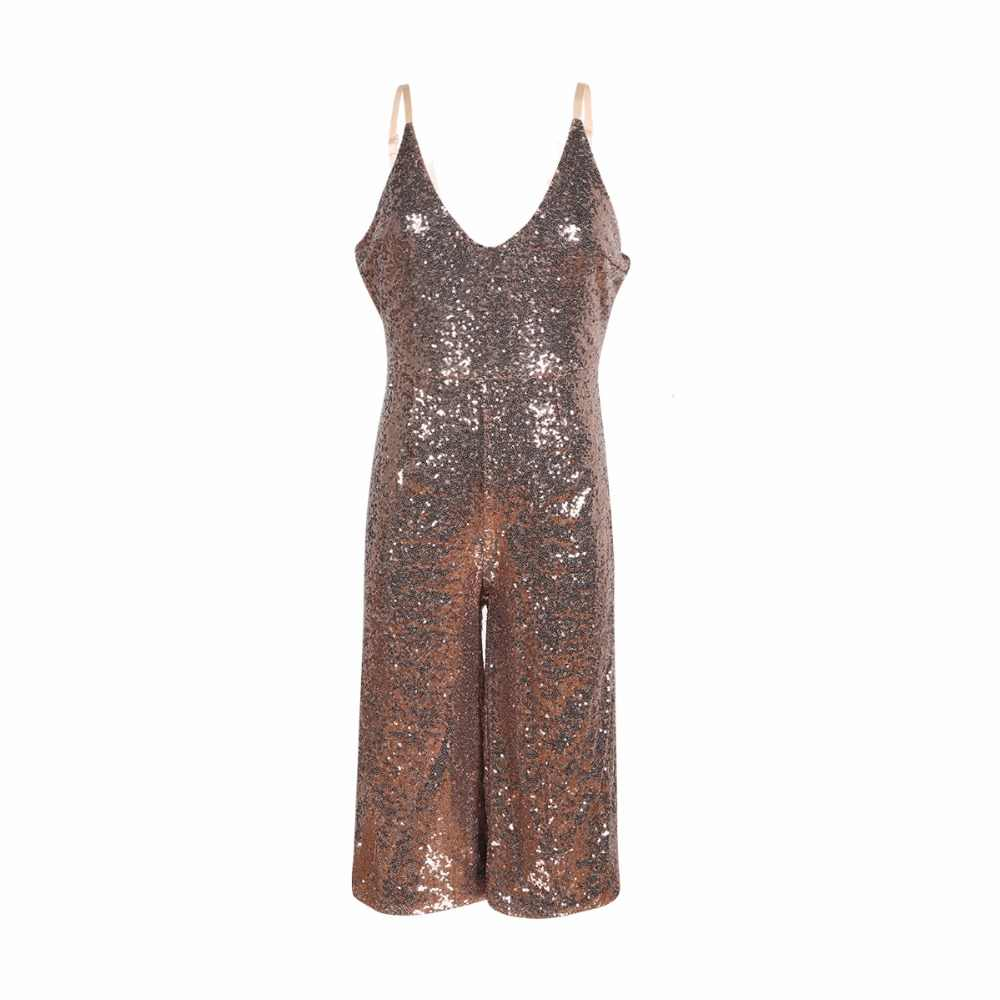 f6107915a39 ... Brown spaghetti strap sequined wide leg cropped jumpsuits for women  stylish V neck sexy palazzo jumsuits ...