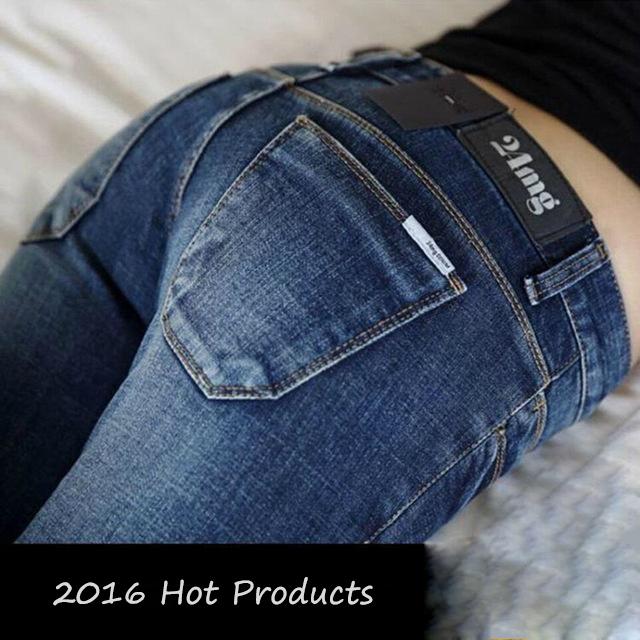 2016 Nova Moda Sexy Slim Fit calças de Brim Das Mulheres Calças Lápis outono E Inverno Magras Calças Para Senhora Calças De Brim Femme Plus tamanho