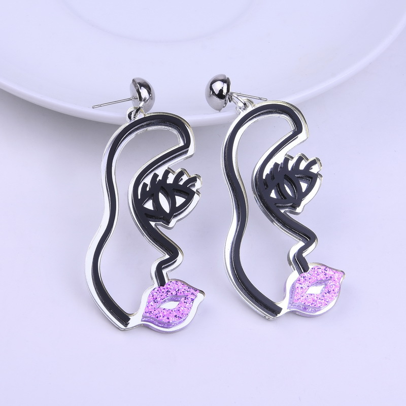 Best Selling Hand-made Funny Woman Face Abstract Acrylic Earrings Exaggerated Fashion Personality DIY Mask Jewelry
