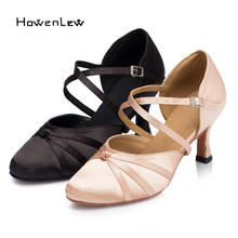 Satin Knot Closed Pointed Toe Modern Latin Ballroom Dance Shoes High Quality Salsa Tango Ladies Women's Dancing Shoes Sandals