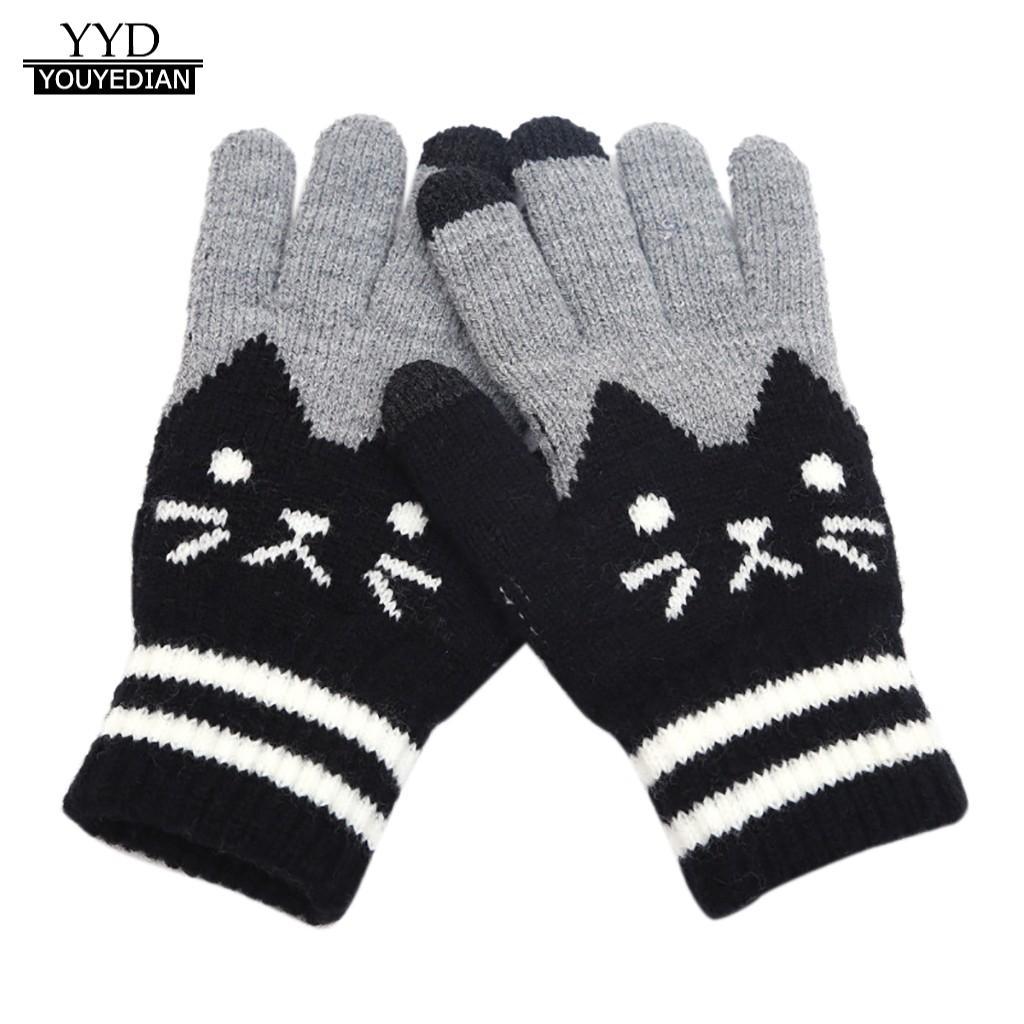 Handschoenen Voor Vrouwen Mannen Winter Cut Cat Knit Klik Screen Vingers Screen Warme Fleece Handschoen Guantes Tactiles Gants Femme Hiver
