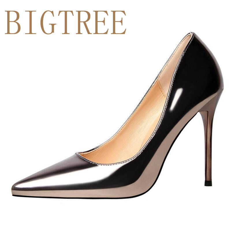 2017 Women spring ultra High Heels Shoes Elegant Thin High Heels Pointed Toe Patent leather Pumps woman Party Gold Silver Color sexy black leather pointed toe high heels pumps shoes newest woman s lace up thin heels shoes party shoes
