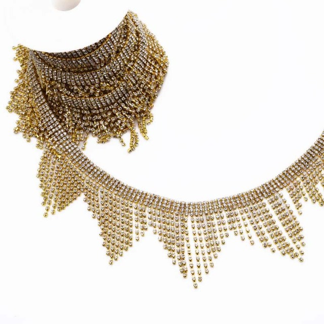 5yards Very Luxury Rhinestone appliques for Wedding Dress belt Gold tassel  fringe Trimmings Sew on patches for Clothing Sewing 592dbfdd0552