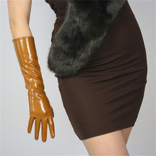 40cm Patent Leather Gloves Long Section PU Emulation Leather Warm Bright Leather Bright Camel Caramel Coffee Dark Brown WPU47-40 bright warm 90