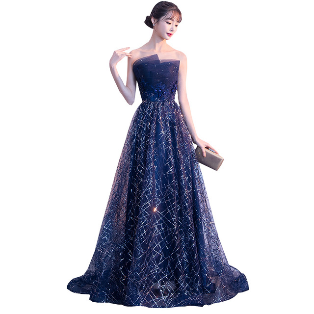 KULAZOPPER Women Elegant Long Dress Lace Beaded Starry Sky Prom Gown Off  Shoulder Strapless Evening Gown 3ce38474b