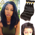 Annabelle Straight Virgin Hair 2/3 piece Raw Indian Hair Bundles With Closure 8A Human Hair pre plucked 360 frontal with bundles