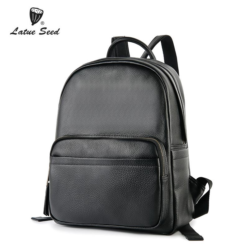 Latue Seed Genuine Leather Backpack Female Bag 2018 New Casual Fashion Backpack Solid Black Brand Bag 888-549D-BLatue Seed Genuine Leather Backpack Female Bag 2018 New Casual Fashion Backpack Solid Black Brand Bag 888-549D-B