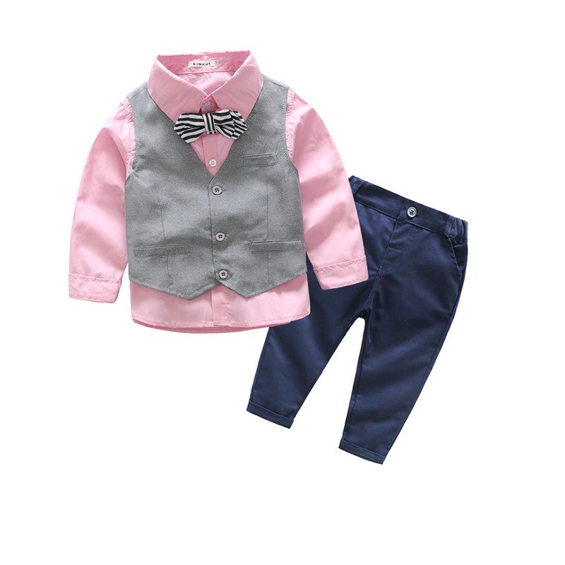 Kid 3pcs Clothes Suit Baby Boy Long Sleeve T-Shirt Top+Vest+Pant Outfit Children Clothing Set Suit Kids Gentleman Clothes Formal kids clothing set plaid shirt with grey vest gentleman baby clothes with bow and casual pants 3pcs set for newborn clothes