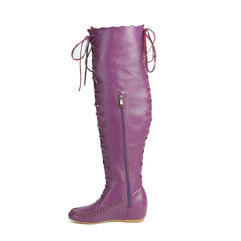 Altura Mujeres Cuero Mujer 34 Las Moda Zapatos De 47 Por La Nuevo Pu Rodilla Cremallera Botas Encima Plus Con Púrpura 2019 Tamaño Aumento atado Cruz Kcenid wqU0aa
