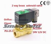 Free shipping 2 way Brass 1 inch water solenoid valve zero pressure start 12V DC Orifice 25mm normal close PU 25 with plug type