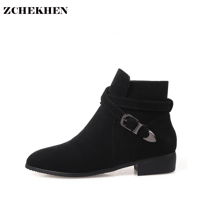 New Fashion European Style Black Ankle Boots low heel Round Toe buckle Martin Boots Woman Shoes With Warm Plush цены онлайн