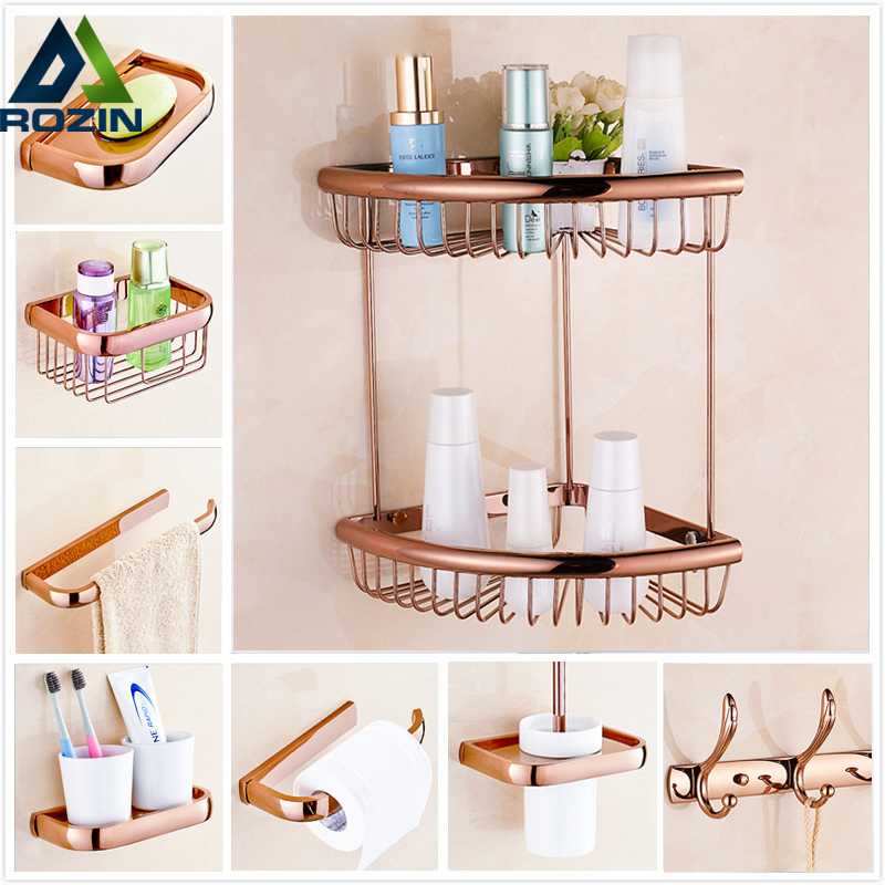Rose Golden Free Shipping Bathroom Hardware Sets Towel Rack/ Basket Shelf /Toilet Paper Holder/ Robe Hooks/ Soap Dish Wall Mount