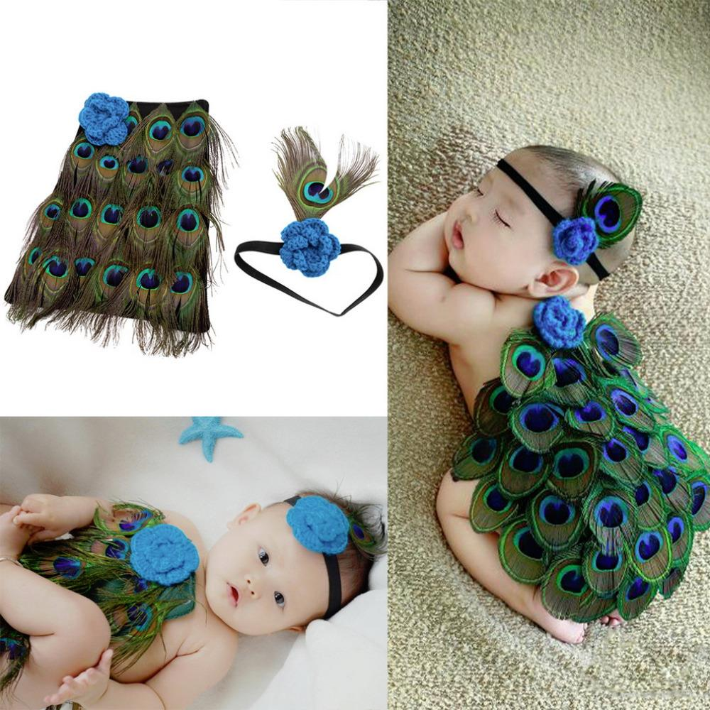 Newborn baby photography props infant knit crochet costume peacock photo prop costume headband hat clothes set baby shower gift cute newborn baby photography props outfits knit crochet hat tie pants costume set bebes roupa infantil bebek d