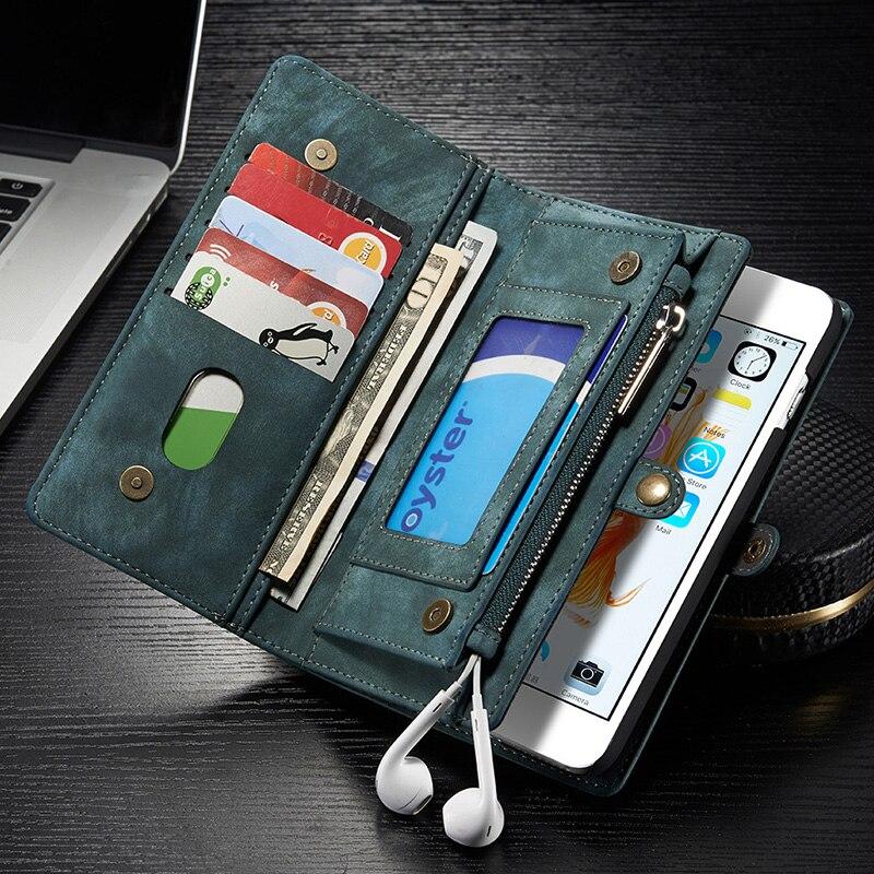 imágenes para Caso Monedero de la cartera Para el iphone 7 7g Más Multi-Ranura de Teléfono de Cuero Imán de la Bolsa bolsa de La Cubierta Para el iphone 7 s Con el Portatarjetas NEWOER