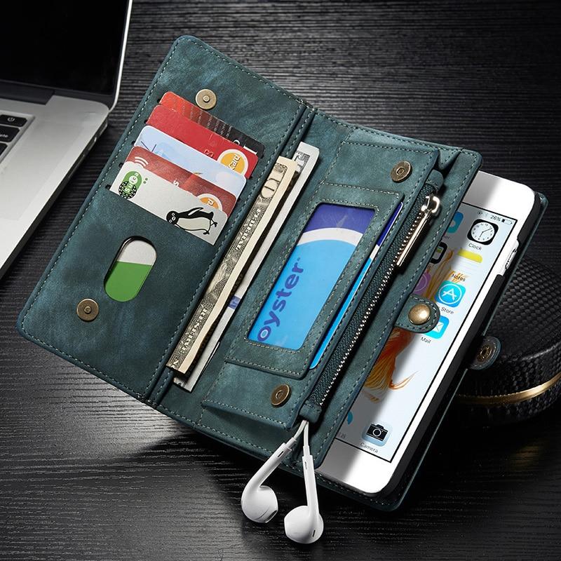 bilder für Geldbörse Fall Für iPhone 7 7g Plus Multi-Slot Leder Telefon Für iphone 7 s Magnet Beutel Mit Kartenhalter NEWOER