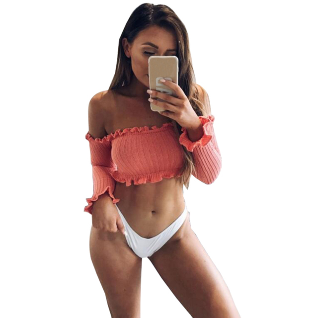 Sexy Off the Shoulder Tops for Women T Shirt Female 2017 Autumn Winter Fashion Long Petal Sleeve Crop Top Tees Cotton T-Shirt
