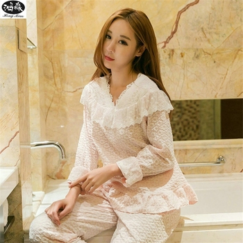 Autumn Women Pajamas Sets Ladies Lace Cotton V-neck Solid Color Long-sleeves 2pcs Pyjamas Girls Lovely Home Clothing