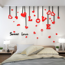 Romantic LOVE acrylic photo wall sticker creative personality 3D stickers bedroom bedside background surface decoration
