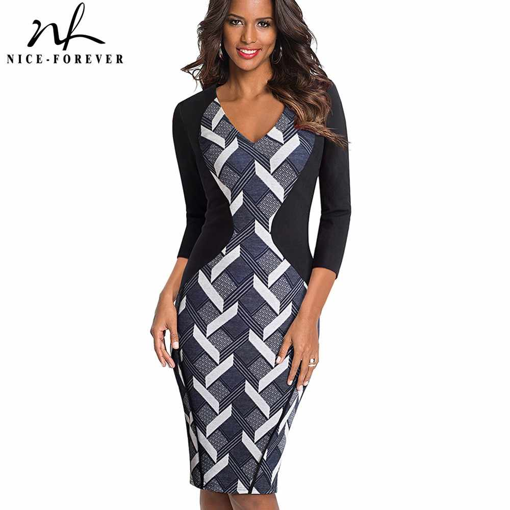 9c67d3d3 Nice-forever Vintage Optical Illusion Patchwork Wear to Work vestidos  Bodycon Office Business Sheath Slim