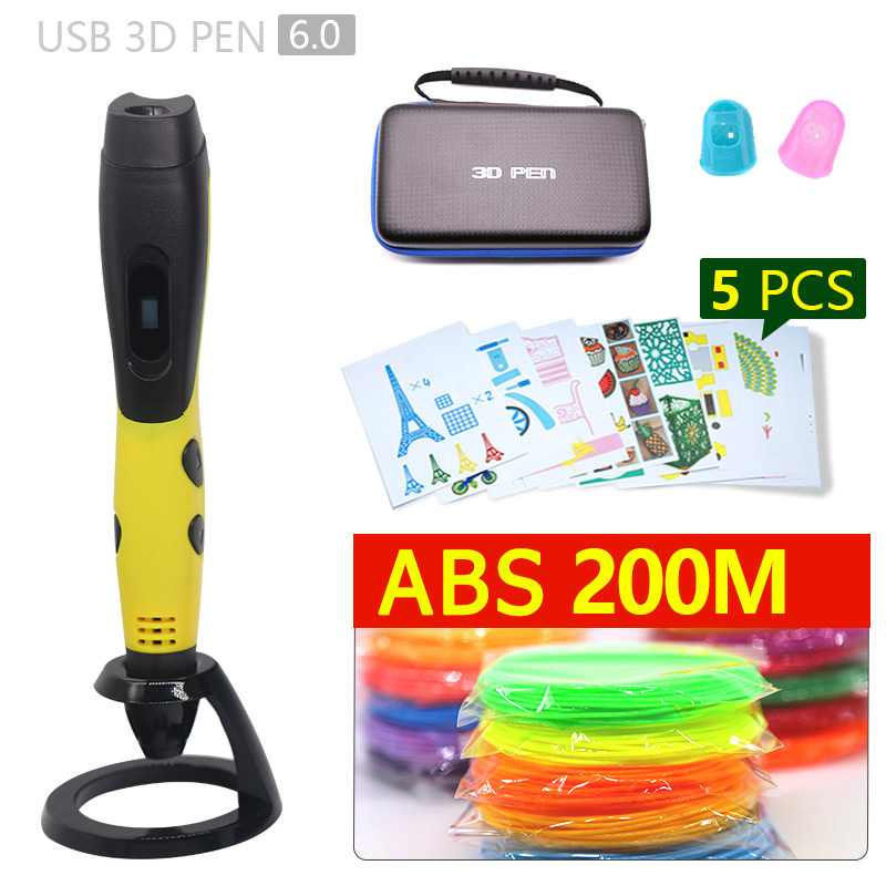 Discount price 3D pen 3d printed pen 1.75mm ABS filament Child birthday present printing pen 5 v 2A usb adapter new Year's gift