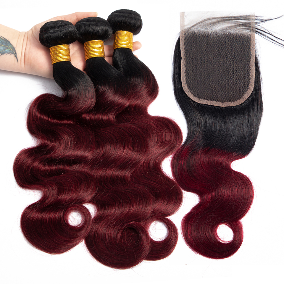 Ombre Body Wave Bundles With Closure Non Remy Peruvian Hair T1b/99J Burgundy Red Human Hair Weave 3 Bundles With Closure