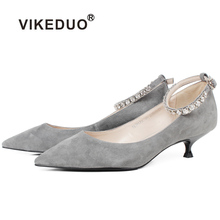 Vikeduo Suede Womens Shoes 2019 Summer Low Heels Gray Pumps Brand Handmade Pointed Toe Ladies Shoe Fashion Zapatos Mujer