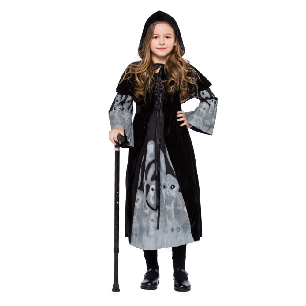 Halloween Witch Costumes for Kids Skeleton Ghost Print Black Dresses For Girls Cute Halloween Cosplay Costume With Hat For Girls