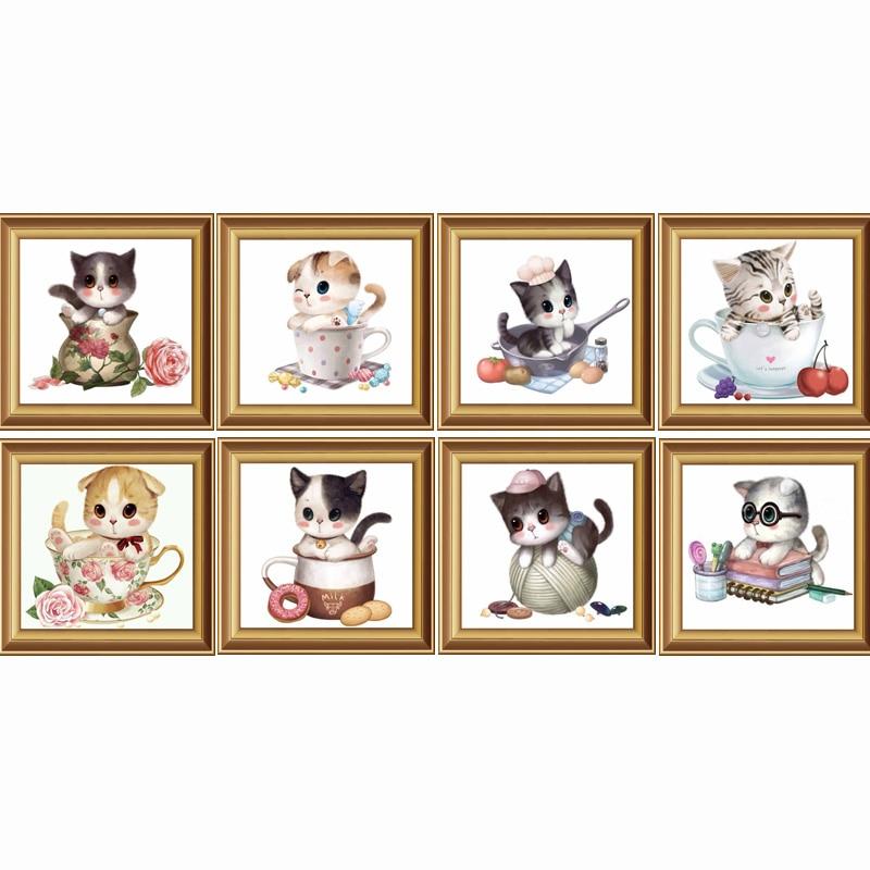 full diamantbroderi, 5d diy diamantmålning, korsstygn, tecknad, katt, mönster, diamantmosaik, barnrumsinredning, gåva