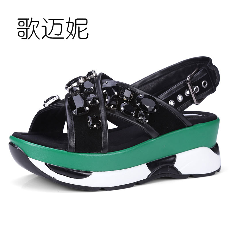 women gladiator wedge sandals summer shoes platform wedges high heel rhinestone beach sandal woman genuine leather shoes 2017 phyanic 2017 gladiator sandals gold silver shoes woman summer platform wedges glitters creepers casual women shoes phy3323