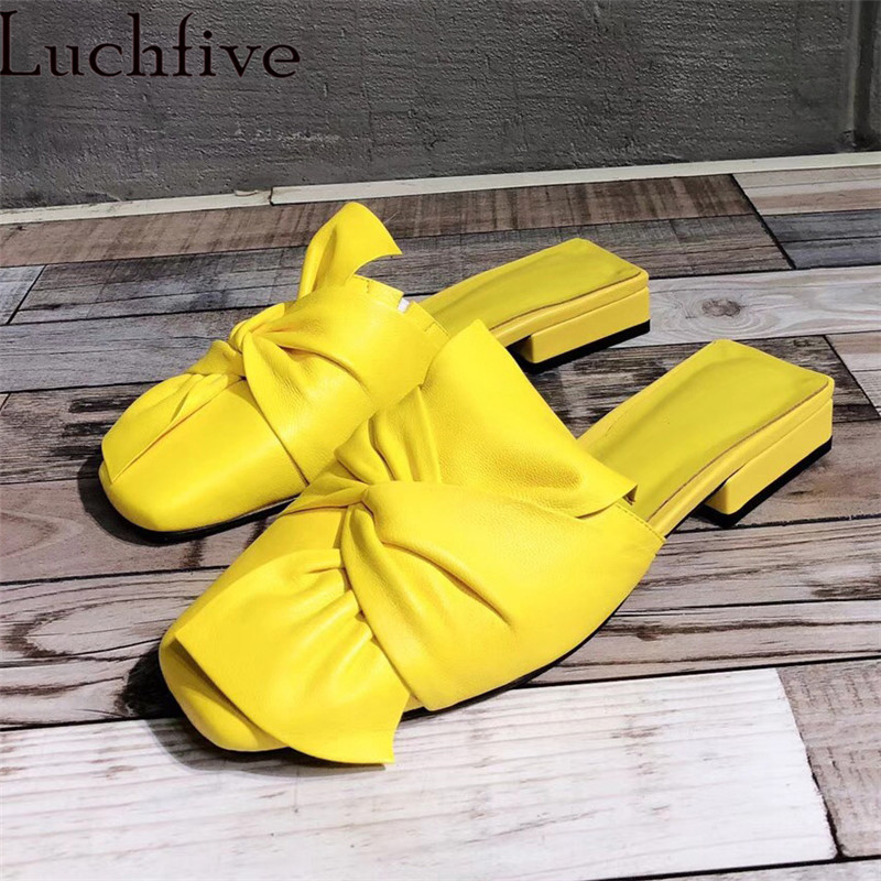 Натуральная кожа лук слайды Для женщин без меховые тапочки на плоской подошве резиновые шлепанцы на ремешке и плоской подошве Для женщин бо...